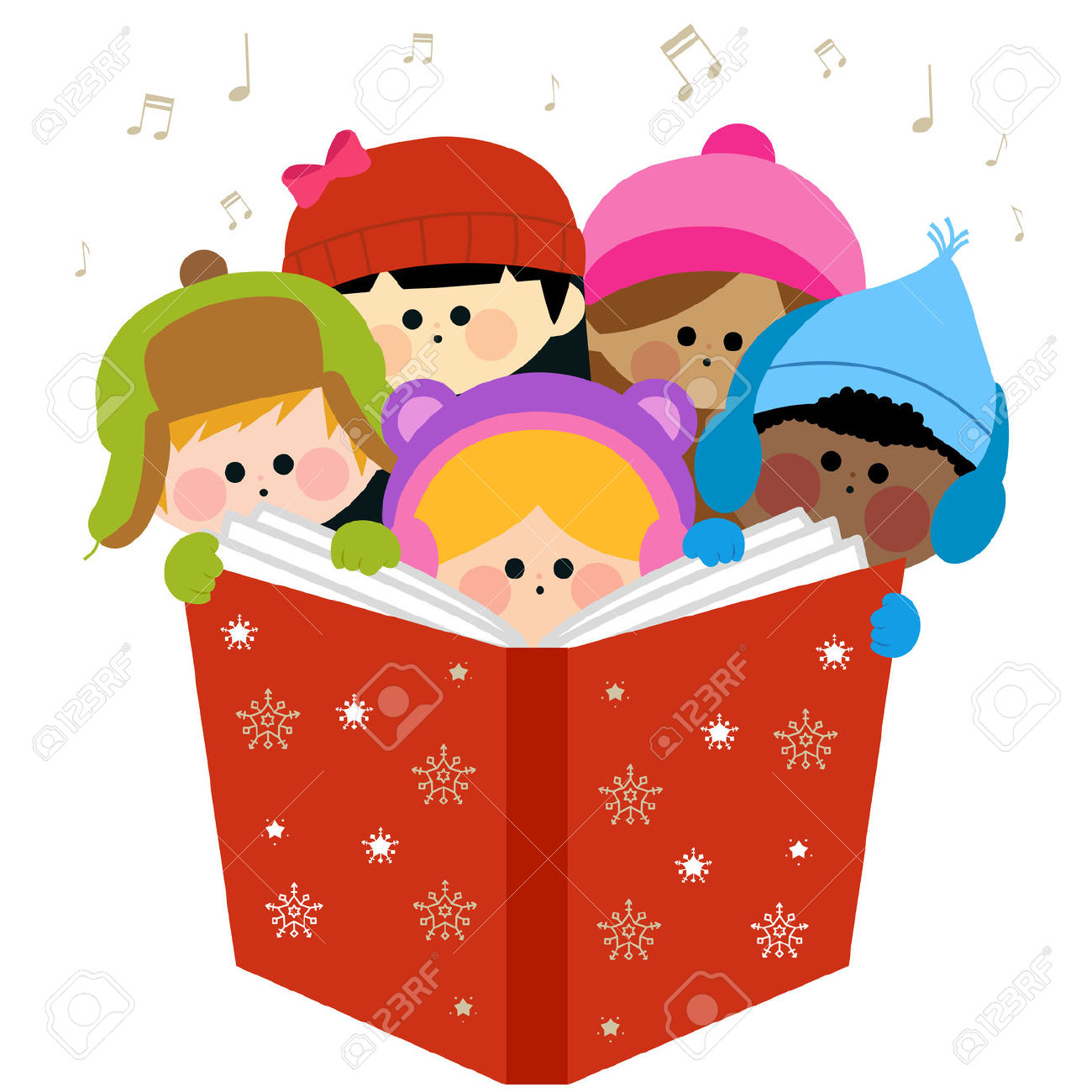 Singing book character clipart png stock Children Singing Christmas Carols Holding Together A Large Book ... png stock