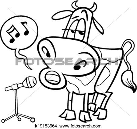 Singing book character clipart clip library library Clipart of singing cow cartoon coloring page k19183664 - Search ... clip library library