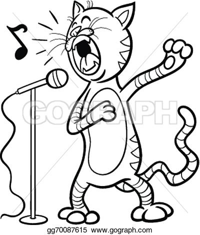 Singing book character clipart banner black and white library Vector Art - Singing cat cartoon coloring page. Clipart Drawing ... banner black and white library