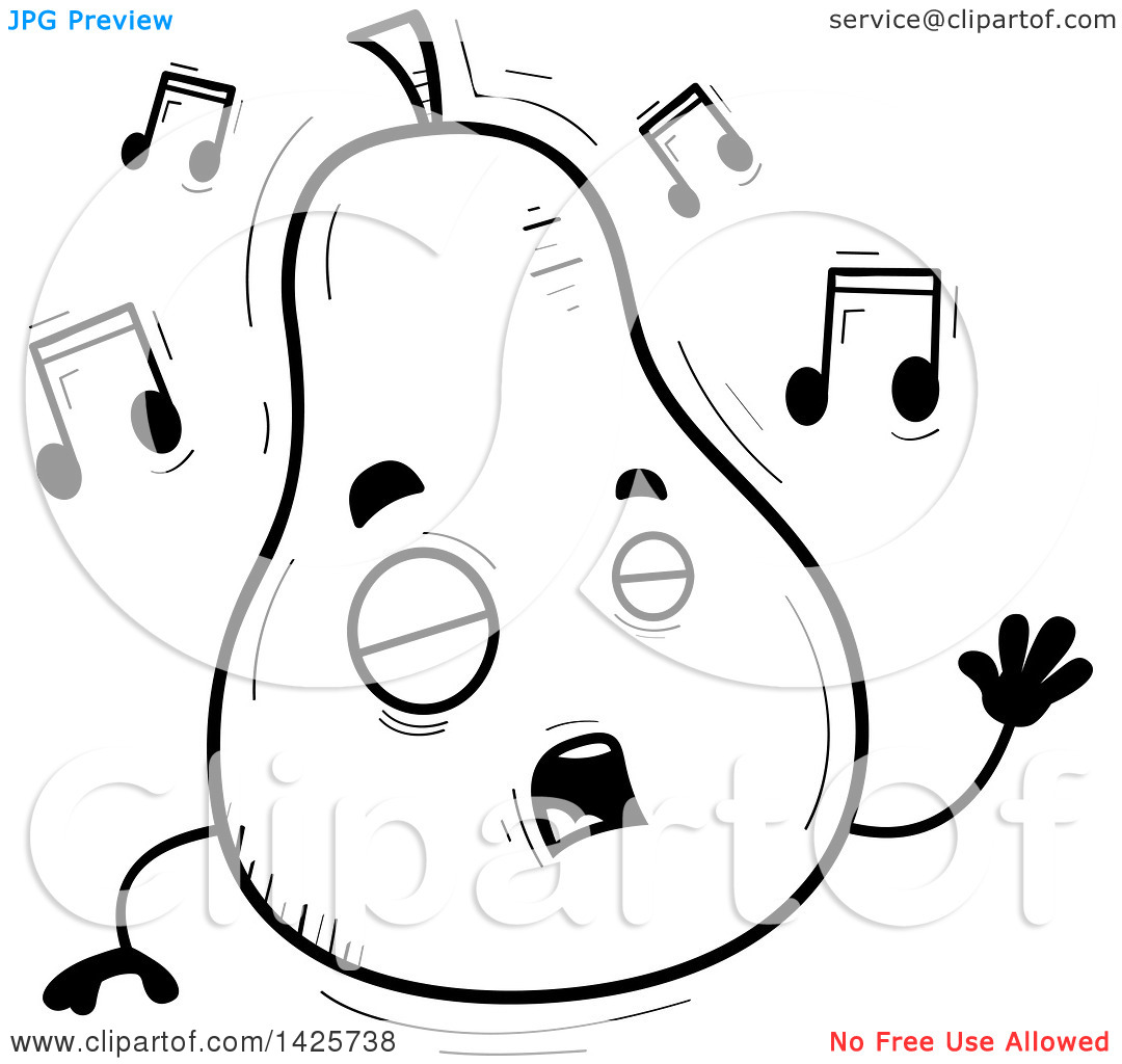 Singing book character clipart png free download Clipart of a Cartoon Black and White Doodled Singing Pear ... png free download