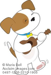 Singing dog clipart jpg free Cute Puppy Dog Playing the Ukulele Clip Art Illustration jpg free
