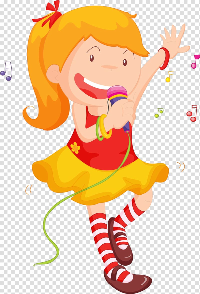 Singing girl images clipart png royalty free stock Yellow-haired girl wearing red and yellow dress illustration ... png royalty free stock