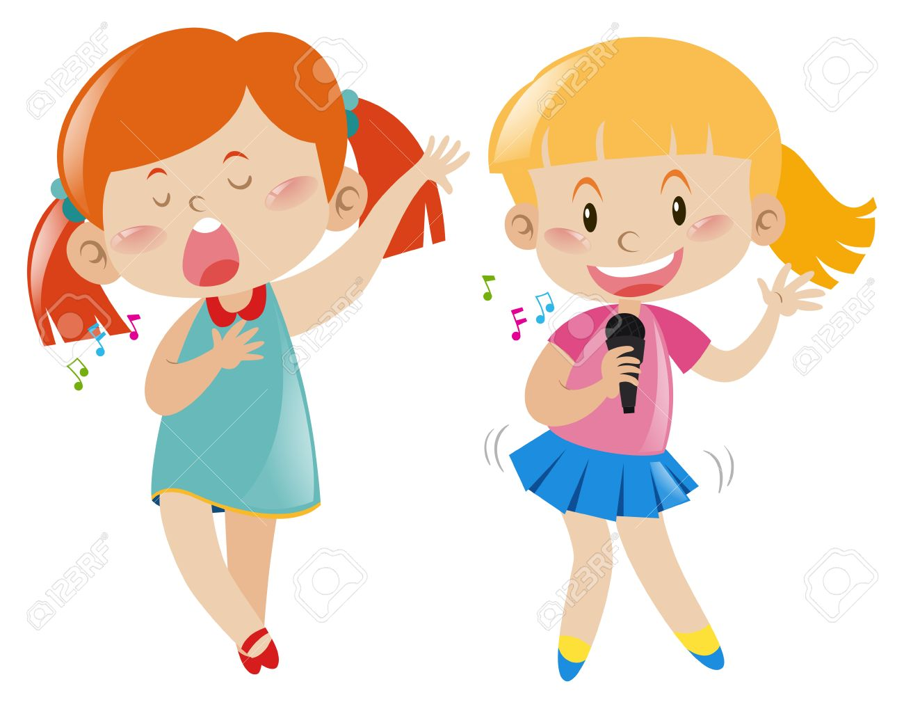 Singing girl images clipart royalty free stock Two girl singing and dancing » Clipart Station royalty free stock