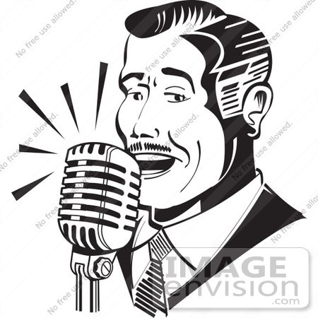 Singing man clipart clip art transparent library Royalty-free Black and White Cartoon Clip Art of a Man ... clip art transparent library