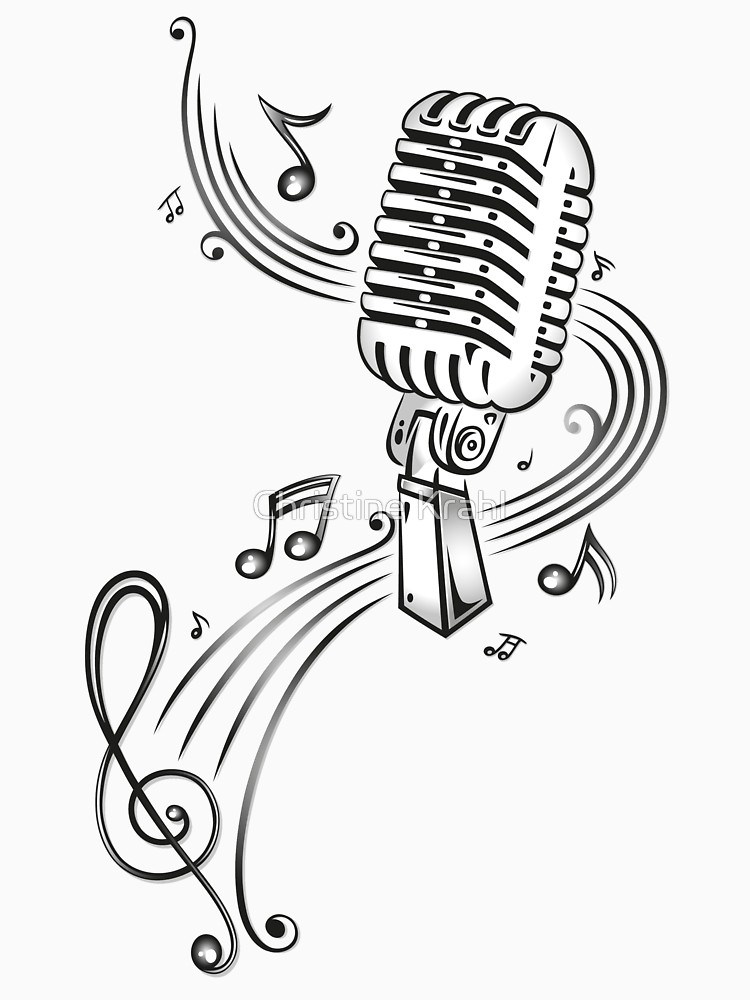 Singing music notes and microphone colorful clipart black and white Microphone And Music Notes Drawing at PaintingValley.com ... black and white