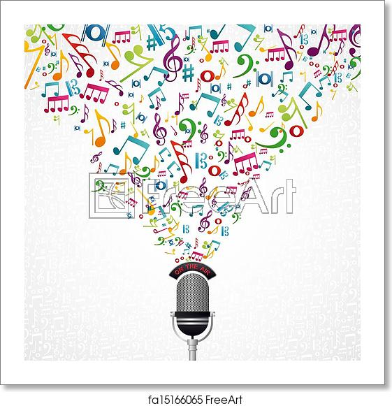 Singing music notes and microphone colorful clipart banner transparent download Free art print of Music notes microphone design banner transparent download