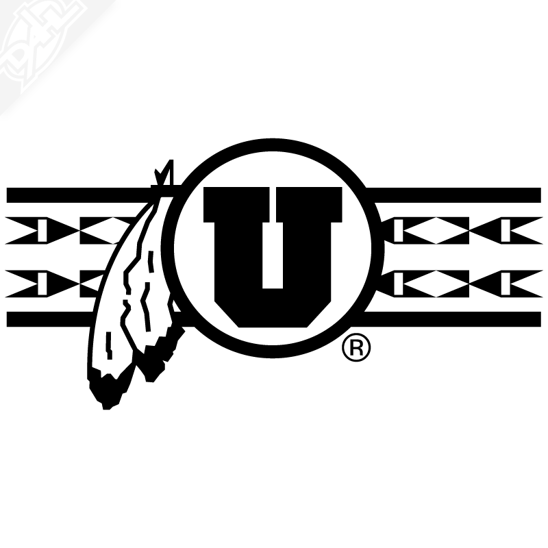 Single colored feather clipart picture freeuse download Ute Proud Circle and Feather With Utah Stripe Single Color Vinyl Decal picture freeuse download