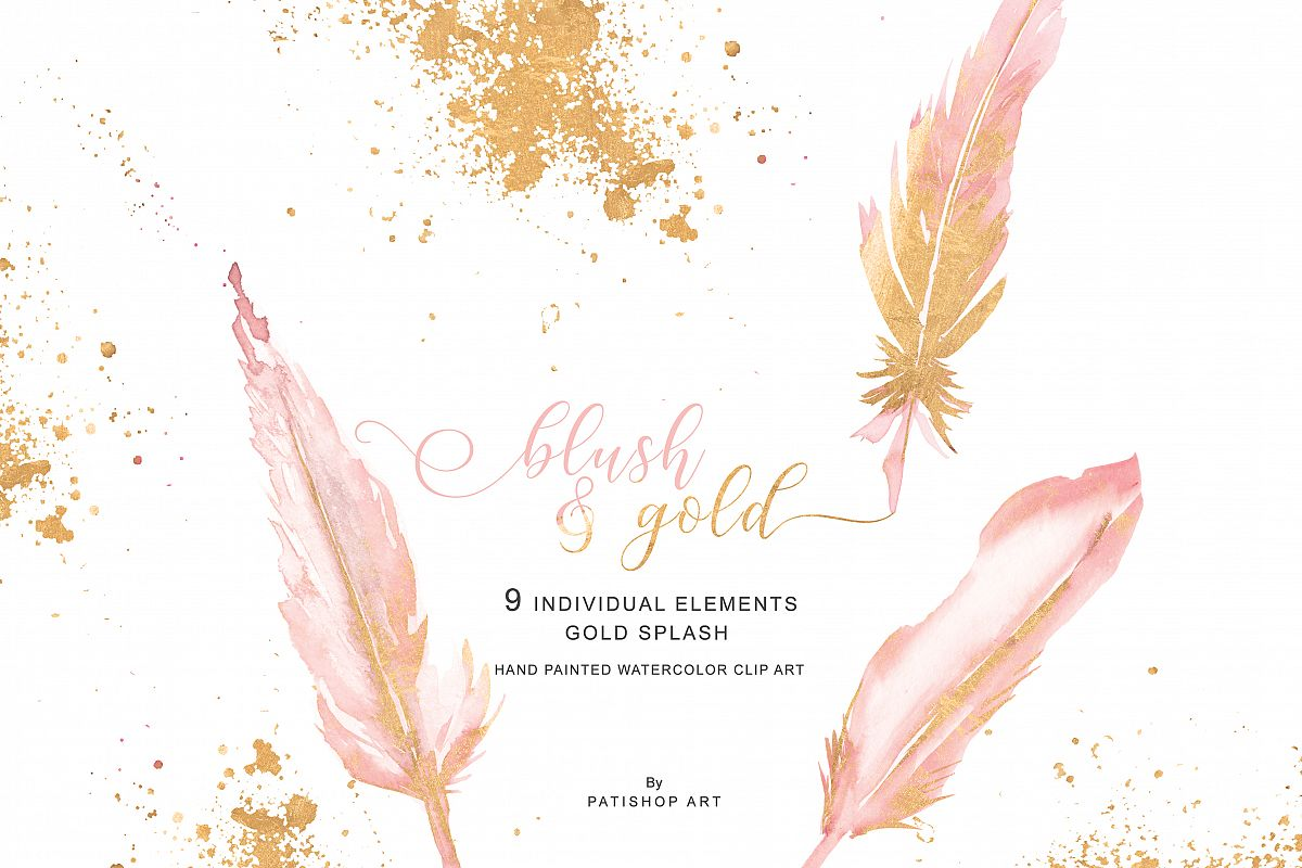 Single colored feather clipart graphic free download Watercolor Blush Pink Gold Feather Clipart graphic free download