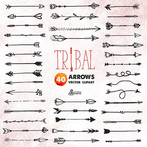 Single tribal arrow clipart clipart download Tribal Arrows Clipart: 40 vector digital files. Hand drawn, doodle ... clipart download