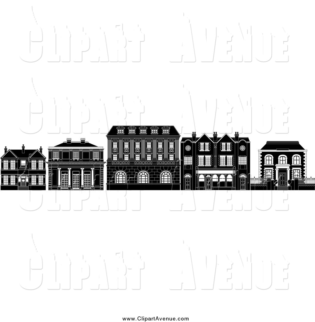 Sinking sand house clipart black and white royalty free library Avenue Clipart of Black and White Row of Edwardian ... royalty free library