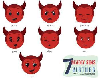 Sins clipart clip art stock Seven Deadly Sins and Seven Virtues Smileys Clip Art Set | 7 ... clip art stock
