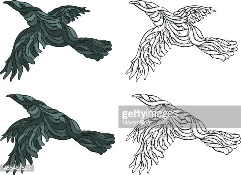 Sinuous clipart image black and white library Sinuous Ravens Flying premium clipart - ClipartLogo.com image black and white library