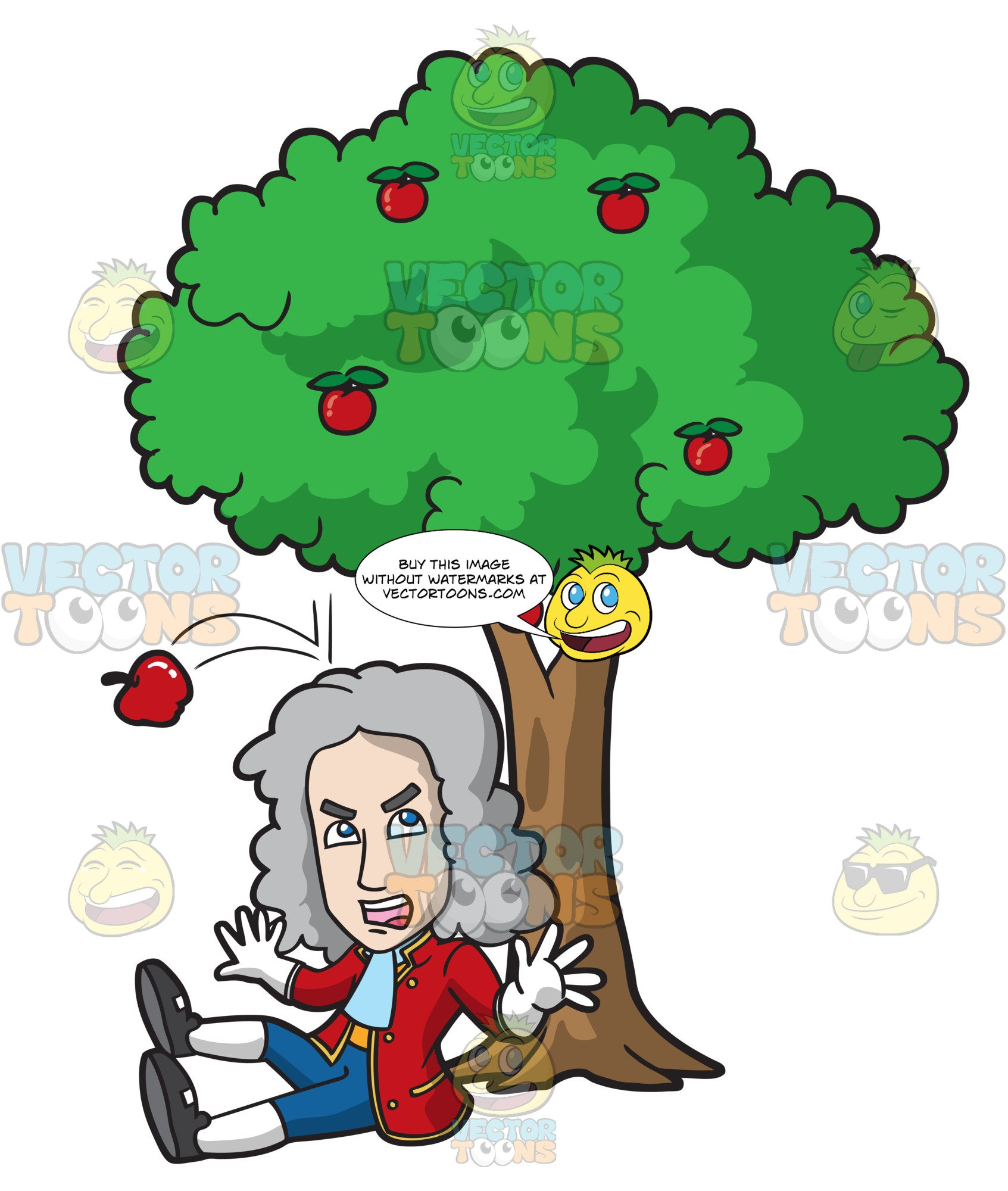 Sir isaac newton clipart svg freeuse stock Isaac Newton Gets Hit On The Head By A Falling Apple svg freeuse stock