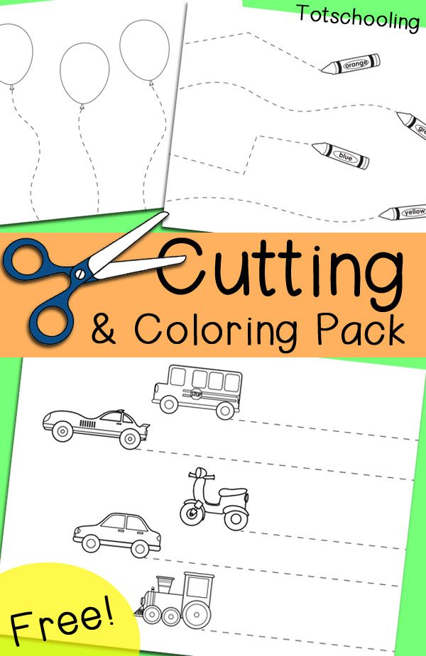 Sissor skills clipart png freeuse library Free Cutting & Coloring Pack | FREE Worksheets for Kids ... png freeuse library