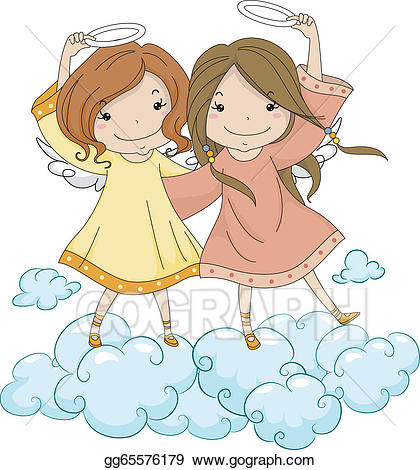 Sisters angels cliparts graphic black and white download Vector Art - Angel sisters holding their halo. Clipart ... graphic black and white download