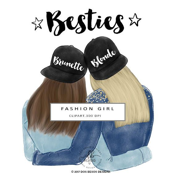 Sisters clipart brunette ang blonde from behind download Besties Clip Art, Best Friends Illustration, Fashion ... download