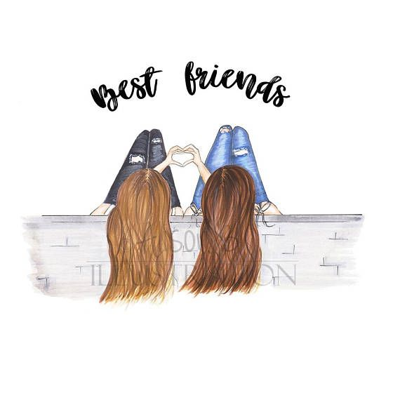Sisters clipart brunette ang blonde from behind image library Personalized Best friends Fashion illustration print, add ... image library