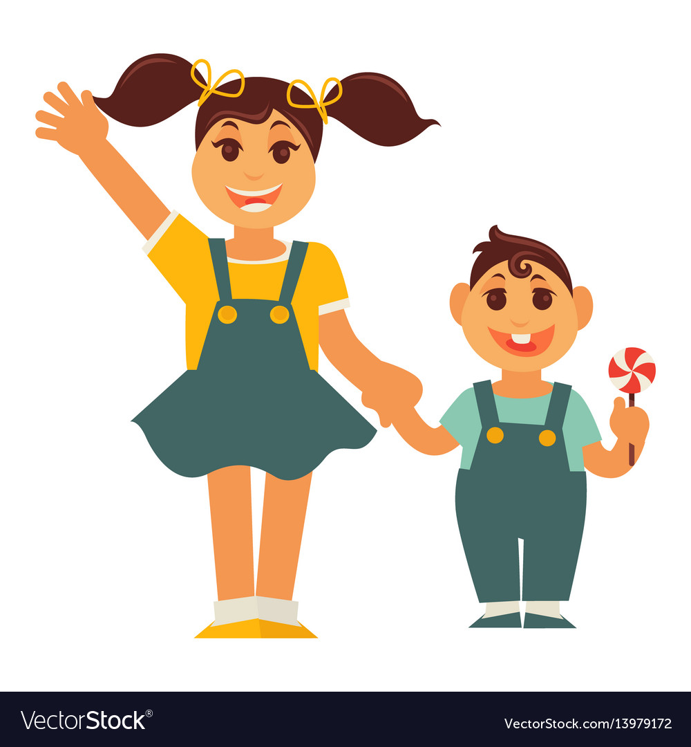 Sisters holding hands clipart image royalty free download Sister girl and brother boy holding by hands image royalty free download