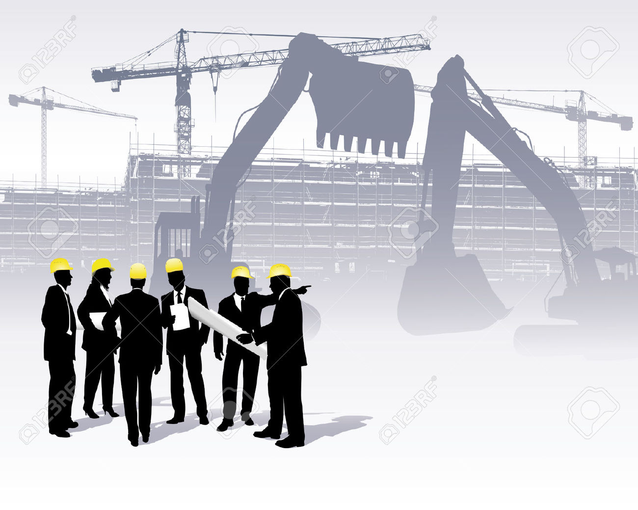 Site engineer clipart vector black and white download Architects On A Construction Site Royalty Free Cliparts, Vectors ... vector black and white download