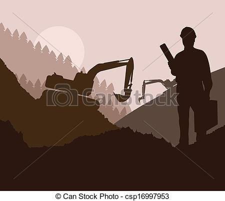 Site engineer clipart library Clipart Vector of Construction site and engineer vector background ... library