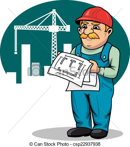 Site engineer clipart graphic freeuse library Vectors of Engineer on construction site - Engineer with building ... graphic freeuse library