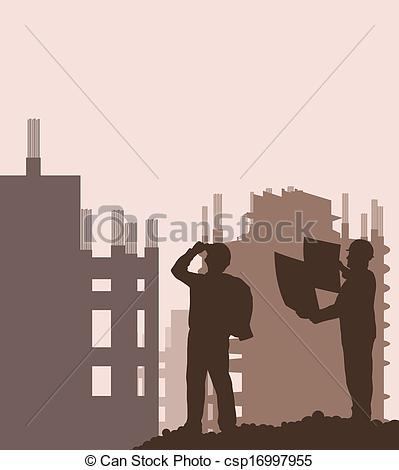 Site engineer clipart vector library download Clipart Vector of Construction site and engineer vector background ... vector library download