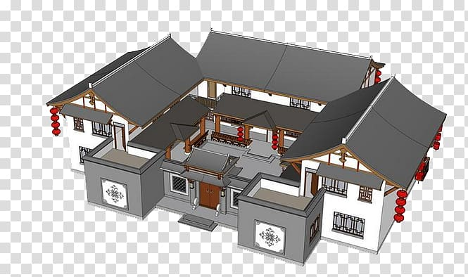 Site model clipart svg black and white library Siheyuan Architecture Scale model Building model, Ancient ... svg black and white library