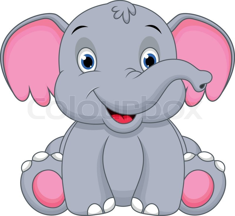 Sitting elephant clipart clipart download Illustration of cute baby elephant ... | Stock vector ... clipart download