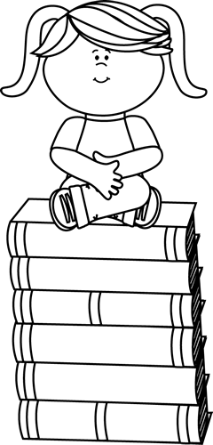 Sitting in class clipart black and white image library Black and White Girl Sitting on Books Clip Art - Black and ... image library