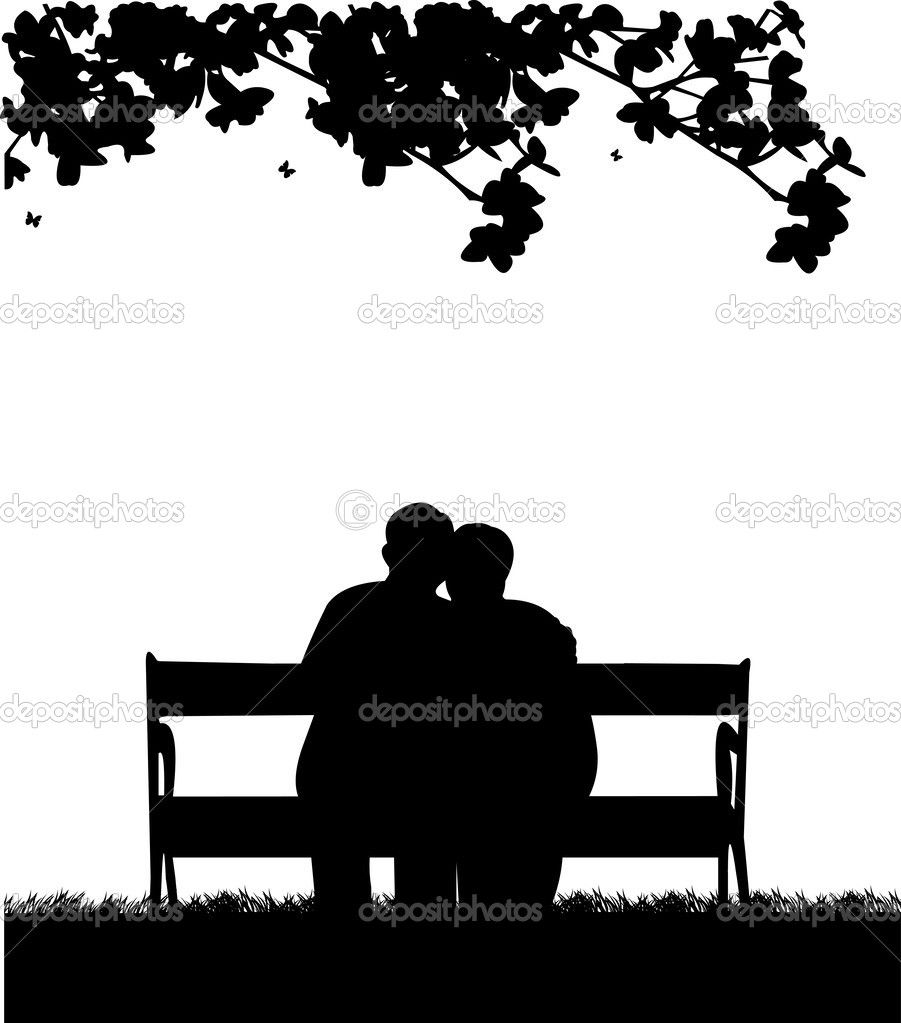 Sitting on a bench clipart black and white