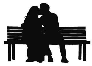 Sitting on bench clipart balck and white picture royalty free library michaelsusanno and Emma sharing a kiss on a park bench ... picture royalty free library