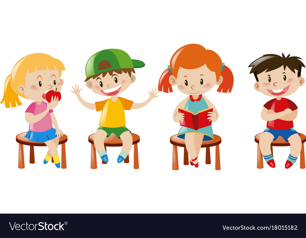 Sitting on chair clipart black and white stock Boys and girls sitting on chairs black and white stock