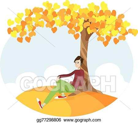 Sitting under a tree clipart svg stock Vector Illustration - Boy sitting under the tree. EPS ... svg stock