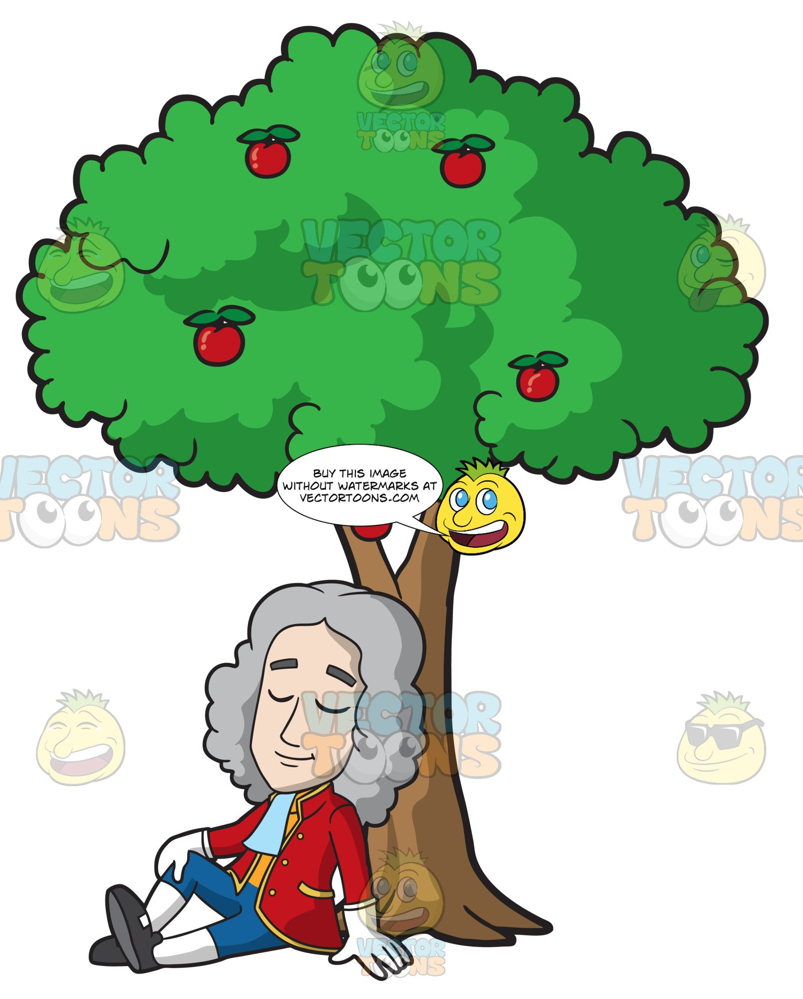 Sitting under a tree clipart image free download Isaac Newton Sitting Under An Apple Tree image free download