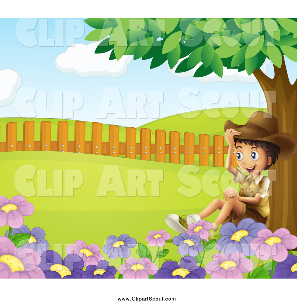 Sitting under a tree clipart clipart black and white stock Clipart of a Happy Explorer Boy Sitting Under a Tree by ... clipart black and white stock