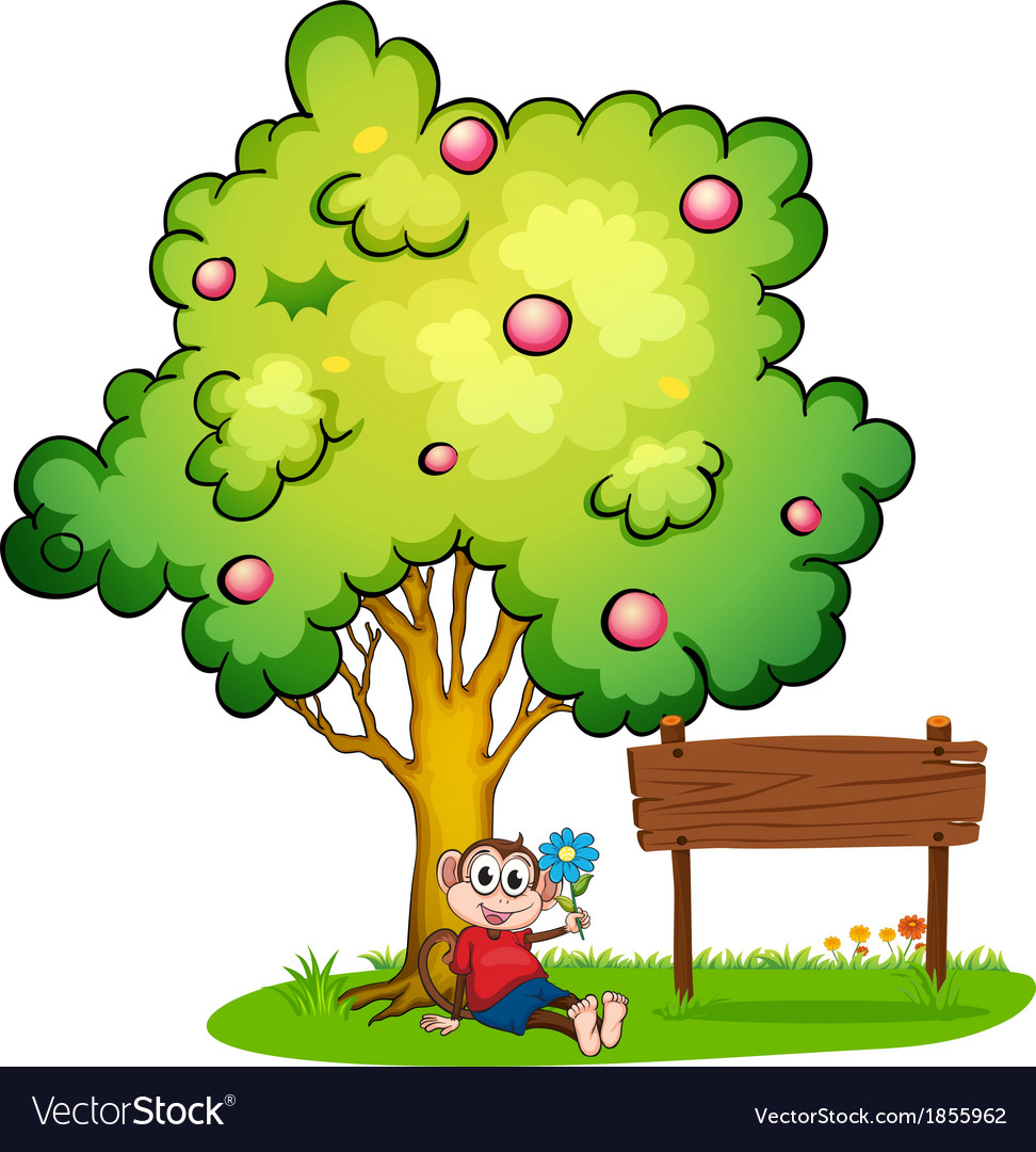 Sitting under a tree clipart graphic library A monkey sitting under the tree beside the empty graphic library
