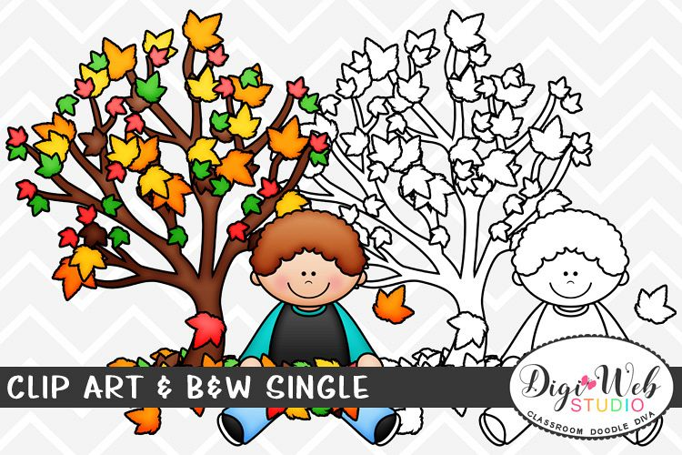 Sitting under a tree clipart free stock Clip Art & B&W Single - Boy Sitting Under Fall Tree free stock