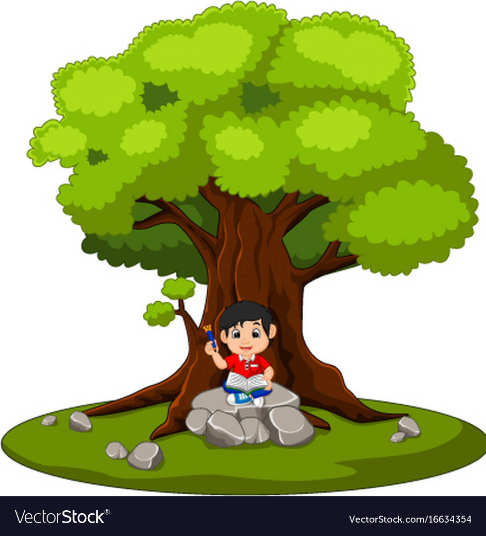 Sitting under a tree clipart jpg library library Boy sitting and reading a book vector image jpg library library