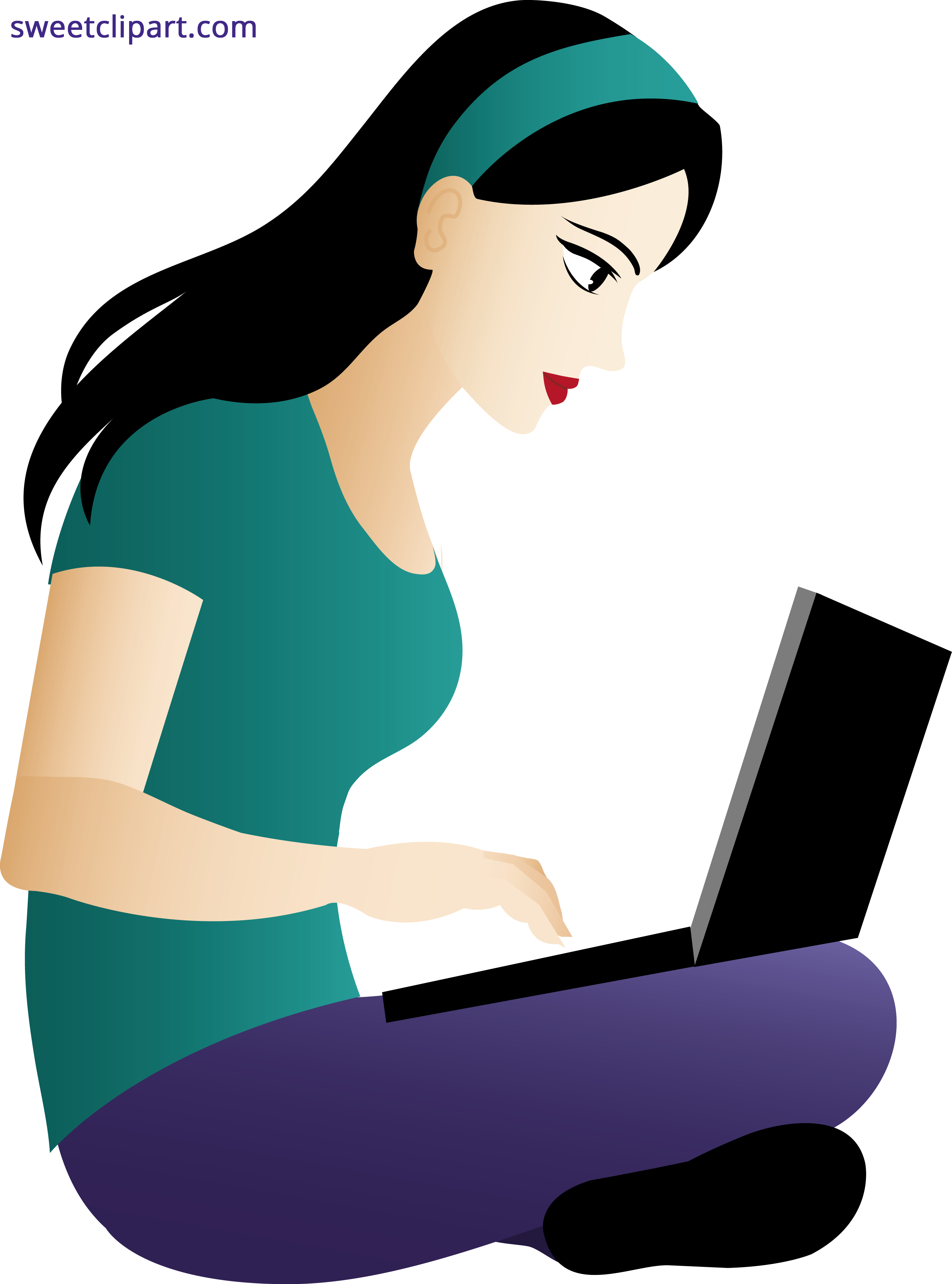 Sitting woman clipart clip royalty free download Woman Using Laptop Clipart - Sweet Clip Art clip royalty free download