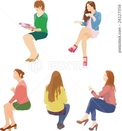 Sitting woman clipart image freeuse download Sitting foreign woman clipart - Stock Illustration [26127356 ... image freeuse download
