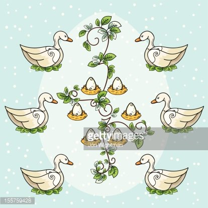 Six geese a laying clipart download The Twelve Days of Christmas Six Geese A Laying premium ... download