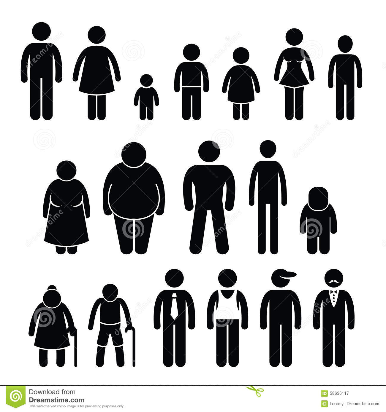 Size clipart graphic transparent download People Character Man Woman Children Age Size Cliparts Stock Vector ... graphic transparent download