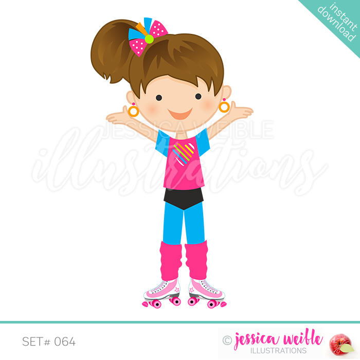 Skater girl clipart picture download Retro Roller Skate Girl picture download