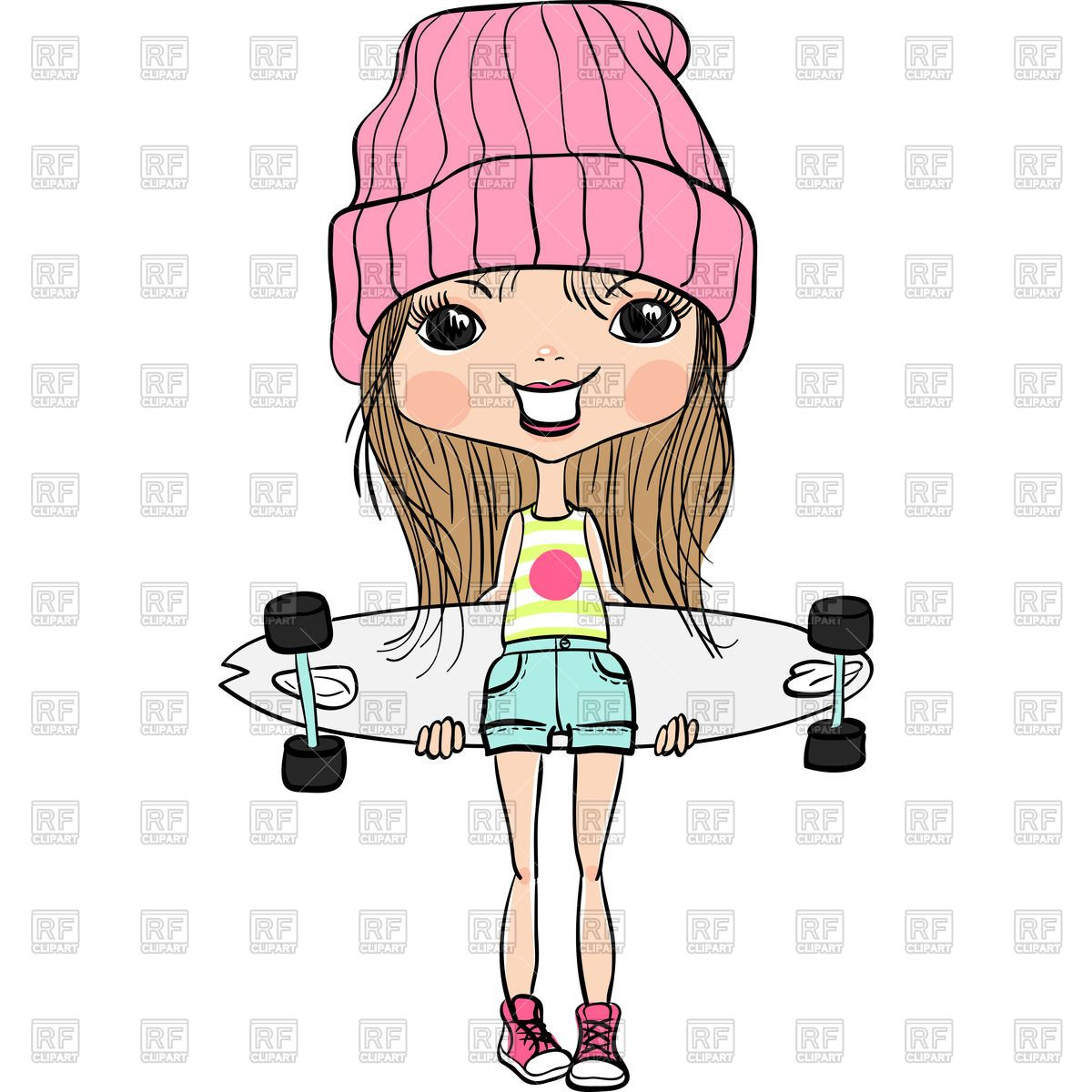 Skater girl clipart banner black and white library Cartoon girl in hat and sneakers with skateboard Vector ... banner black and white library