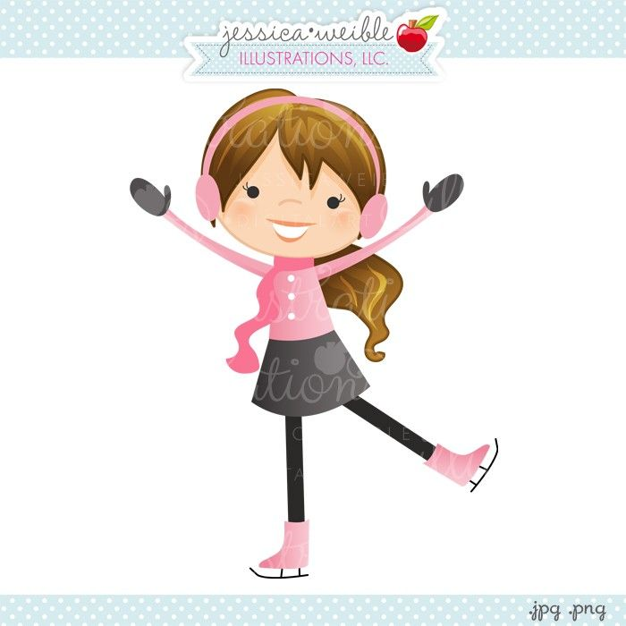 Skater girl clipart picture free library Pretty Pink Ice Skater - JW Illustrations - cute little ice ... picture free library