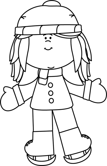 Skating clipart black and white png transparent stock Black and White Girl Ice Skating Clip Art - Black and White ... png transparent stock
