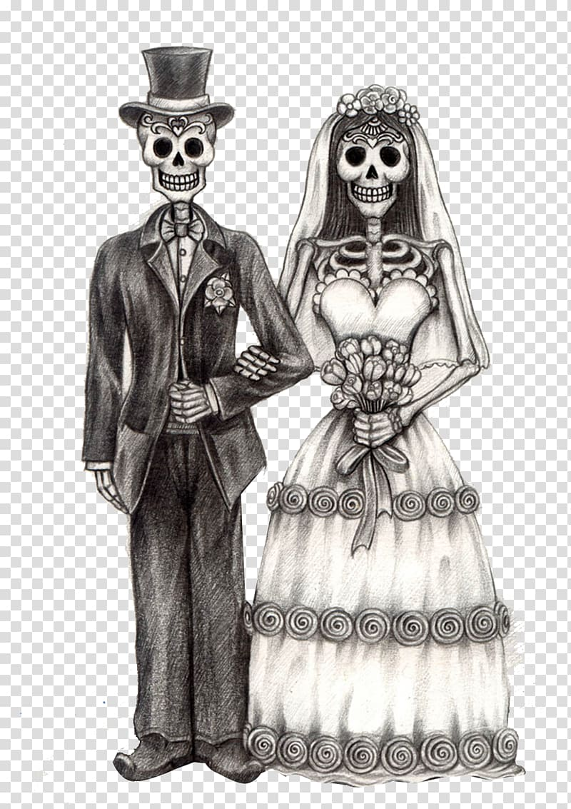 Skeleton bride and groom clipart graphic black and white download Groom and bride skeleton illustration, Calavera Day of the ... graphic black and white download