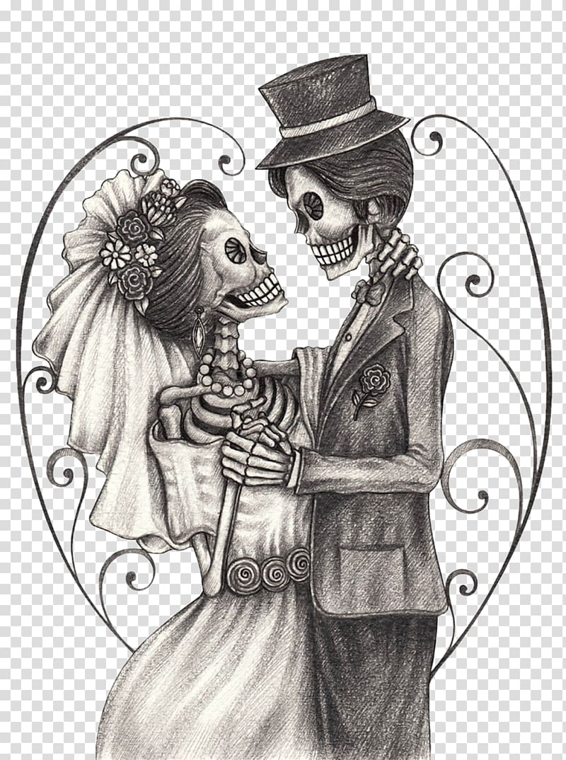 Skeleton bride and groom clipart vector library stock Skeleton couple illustration, Calavera Day of the Dead ... vector library stock
