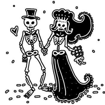 Skeleton bride and groom clipart svg black and white library Skeleton Bride And Groom Drawing at PaintingValley.com ... svg black and white library