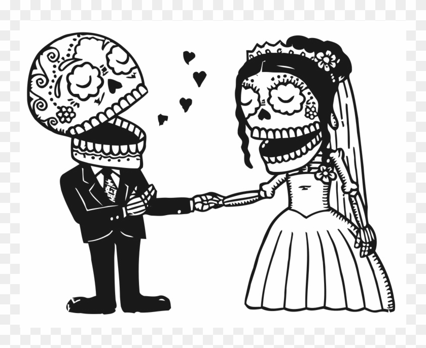 Skeleton bride and groom clipart vector library library Schedule - Bride And Groom Sugar Skull Tattoo, HD Png ... vector library library